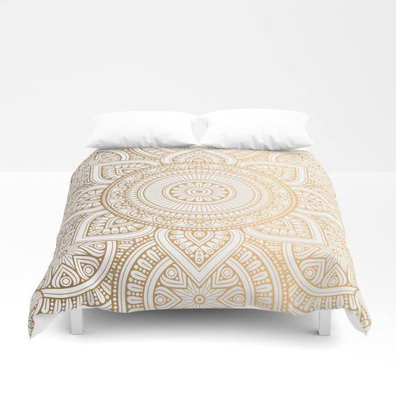 Gold-Mandala-Muster-Bettbezug Bett-Abdeckung böhmische | Etsy