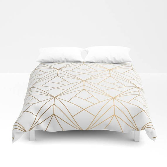 Geometric Gold Pattern Duvet Cover Gold Bed Cover Bohemian Etsy