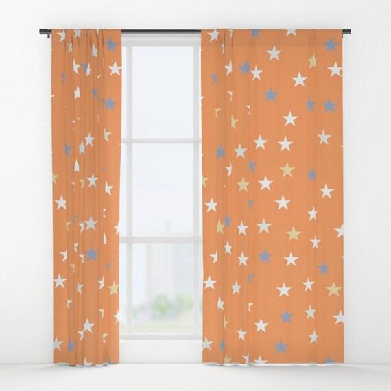 Pfirsich Pastell Sternenmuster Fenstervorhange Orange Etsy