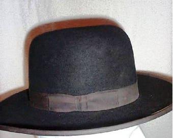 5d016551a0227 NEW Vintage authentic BEAVER Amish Mens Black FELT Hat