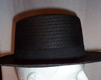 NEW Vintage authentic Mt.HOPE Amish Mens Very Heavy Black Straw Hat Size 7  1 8. Sold As Is. 57f831f53c6