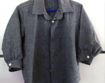 "Sale................AUTHENTIC   Handmade, AMISH Boys  Gray Shirt, Chest 30"""