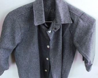 "AUTHENTIC   Handmade, AMISH Boys Gray Shirt, Chest 30"""