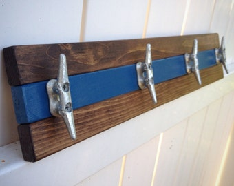 Walnut and Blue Boat Cleat Rack