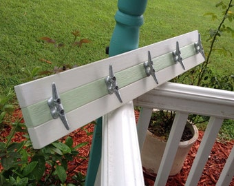 White and Mint Boat Cleat Rack
