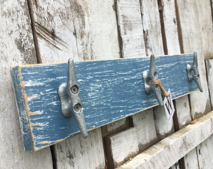 Distressed Medium Blue Boat Cleat Rack