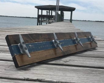 Walnut and Distressed Blue Boat Cleat Rack