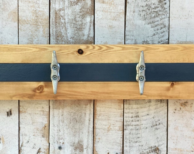 Pine and Blue Boat Cleat Rack
