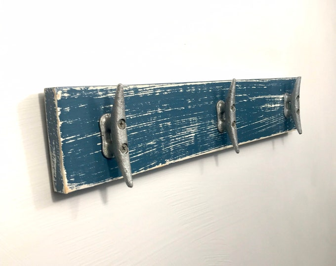 Boat Cleat Coat Rack, Towel Rack, Book Bag Rack, Hat Rack, Key Rack Nautical Distressed Medium Blue