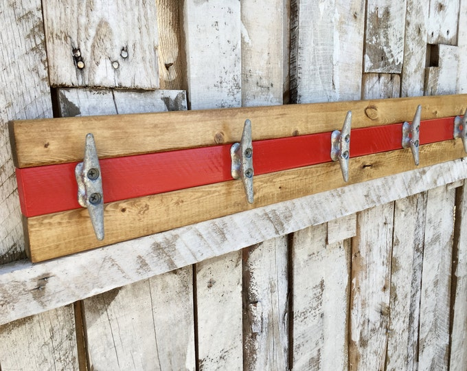 Pine and Red Boat Cleat Rack