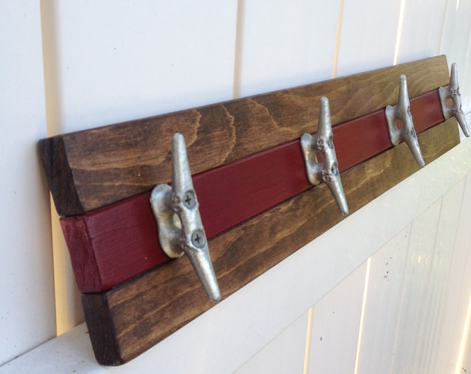 Walnut and Garnet Boat Cleat Rack