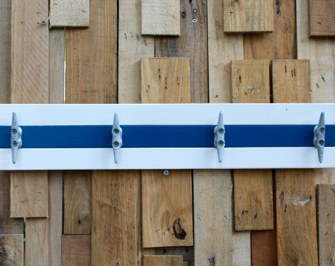 White and Blue Boat Cleat Coat Rack