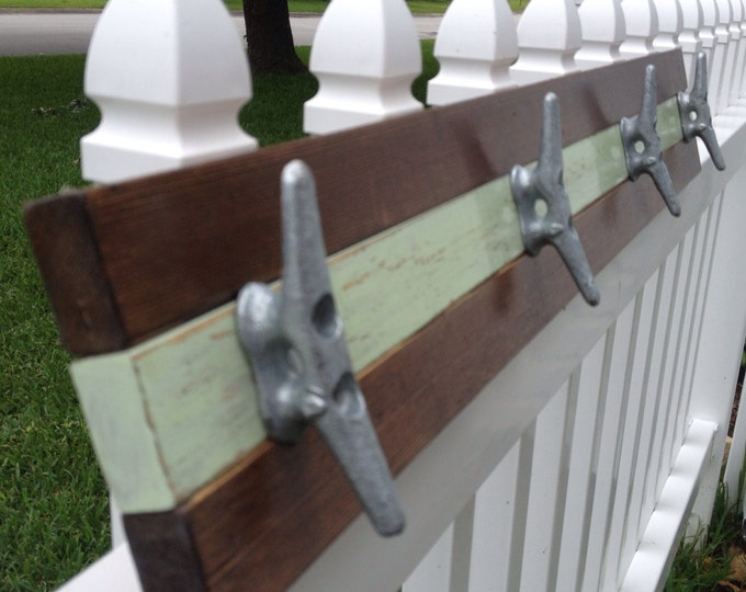 Walnut and Distressed Mint Boat Cleat Rack