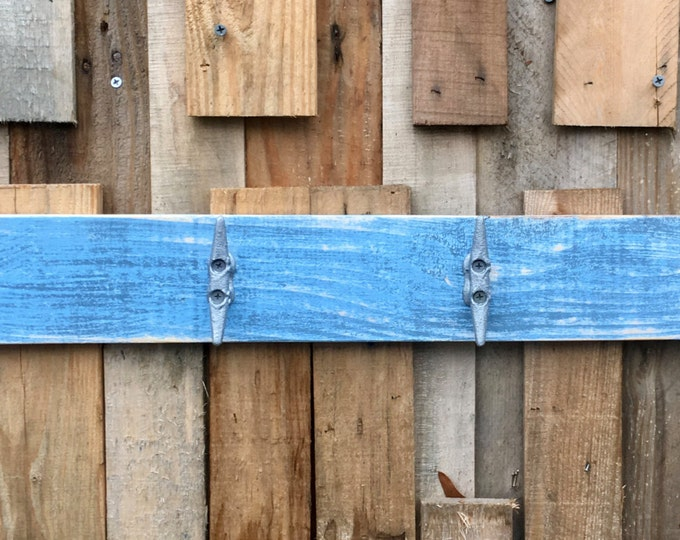 Distressed Bright Blue Boat Cleat Rack