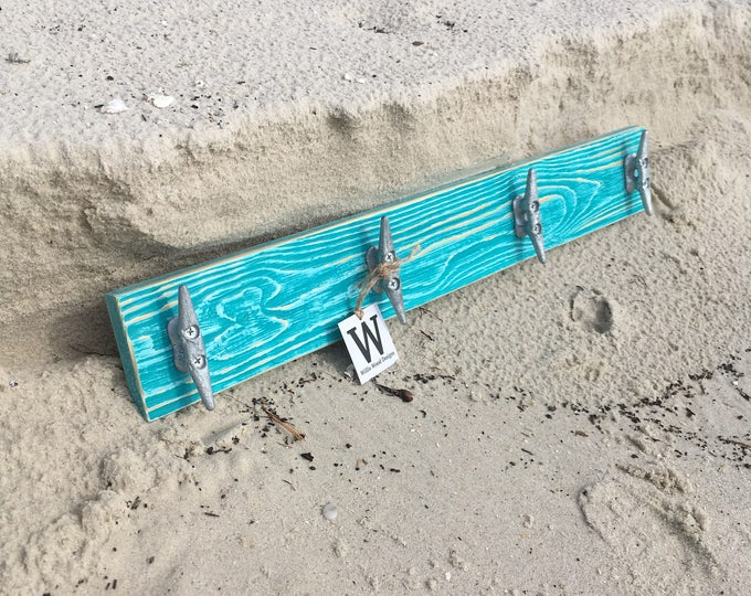 Distressed Teal Boat Cleat Rack