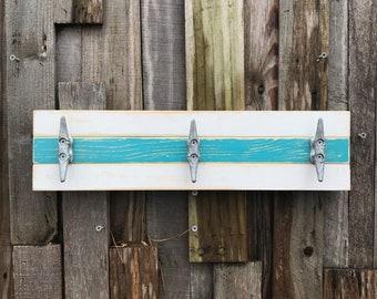 Boat Cleat Coat Rack, Nautical Towel Rack, Hat Rack, Book Bag Rack, or Key Rack, Distressed White and Teal