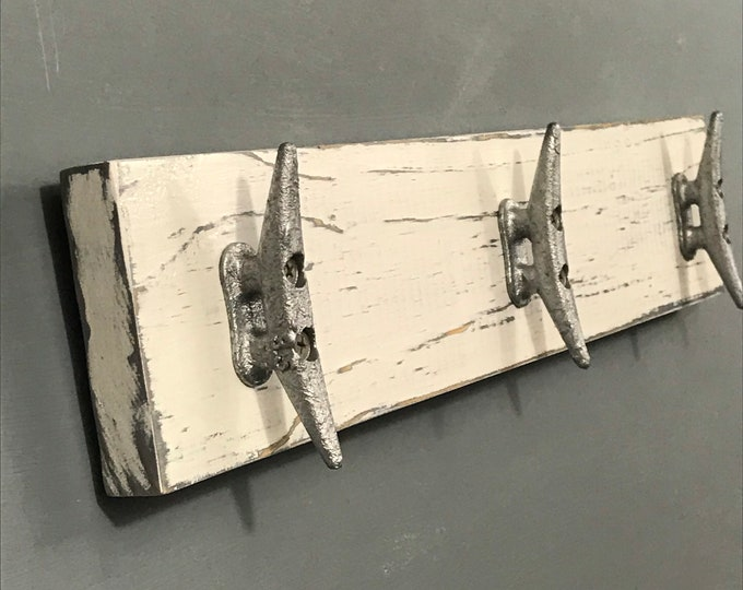 Boat Cleat Coat Rack, Nautical, Towel Rack, Book Bag Rack, Hat Rack, Key Rack, Distressed White over Gray