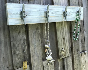 Distressed White over Gray Boat Cleat Jewelry Rack