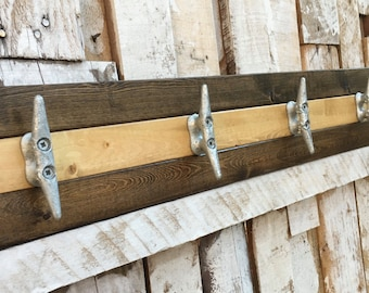 Walnut and Pine Boat Cleat Rack