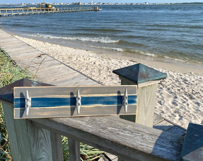 Boat Cleat Coat Rack, Nautical Towel Rack, Hat Rack, Book Bag Rack, Key Rack, Distressed Gray and Blue