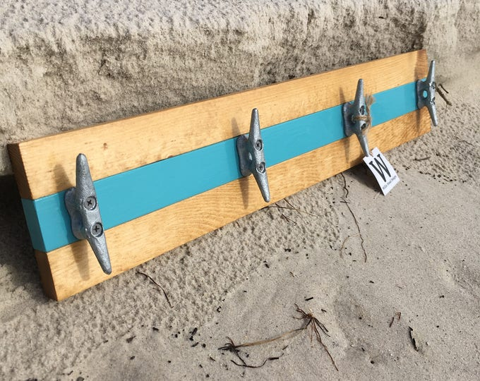 Pine and Teal Boat Cleat Rack