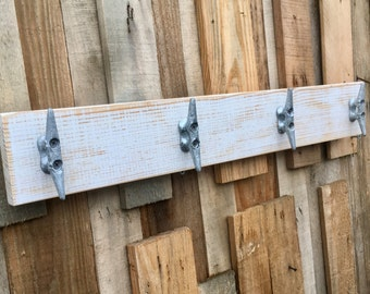 Distressed White Boat Cleat Rack