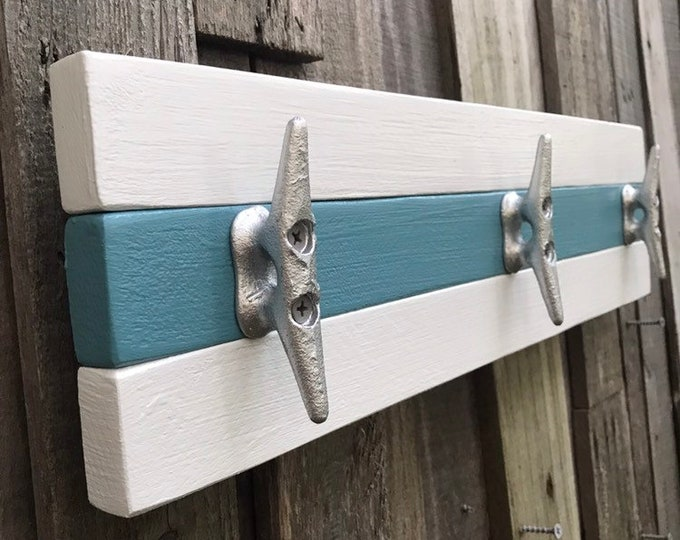 Light Blue and White Boat Cleat Coat Rack