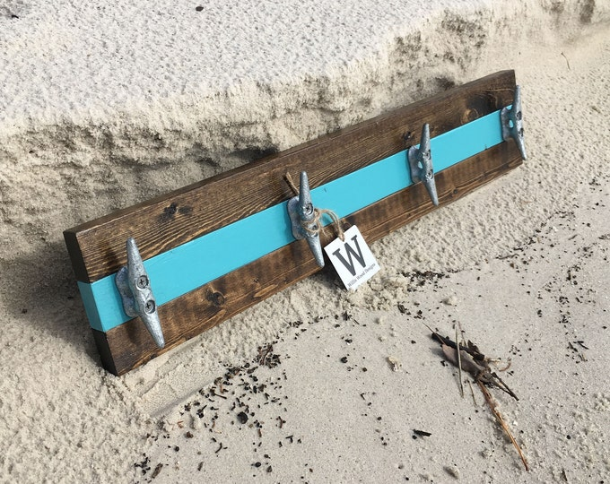 Walnut and Teal Boat Cleat Rack