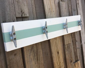 White and Sea Glass Boat Cleat Rack