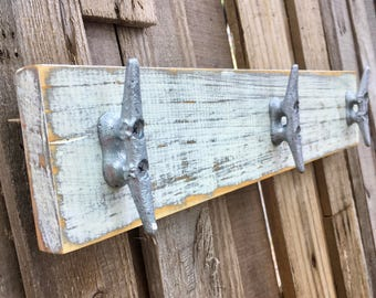 Distressed White over Gray Boat Cleat Rack