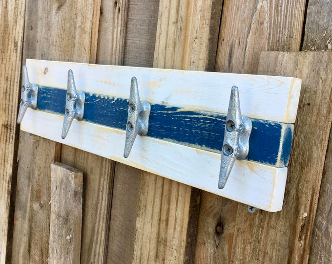 Distressed White and Blue Boat Cleat Rack