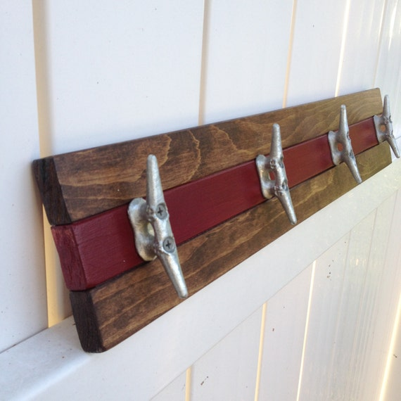 Walnut and Distressed Blue or Hat Rack Towel Rack Nautical Boat Cleat Coat Rack
