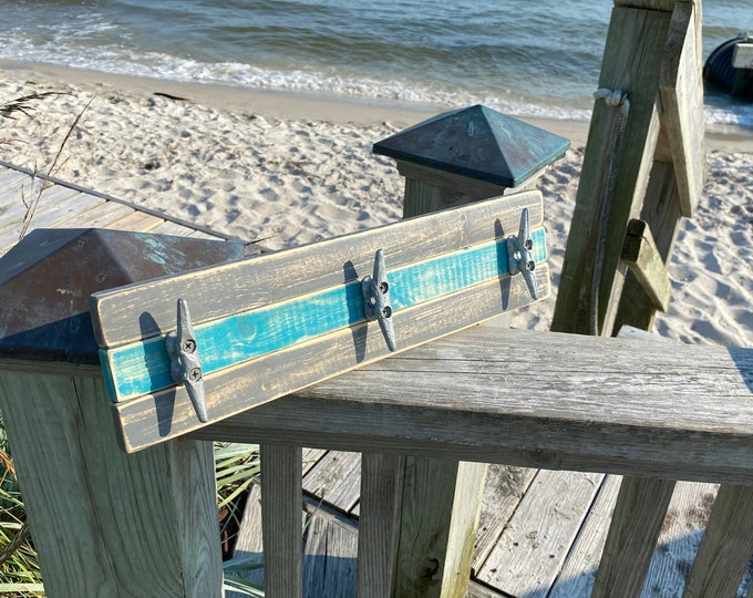 Boat Cleat Coat Rack, Nautical Towel Rack, Hat Rack, Book Bag Rack, or Key Rack, Distressed Gray and Teal