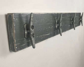 Distressed Gray over White Boat Cleat Rack