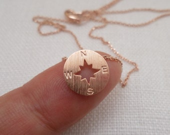 Tiny Gold, Silver or Rose Gold circle disk necklace, compass necklace