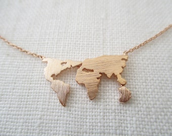 World map necklace etsy world map necklace globe necklace gold rose gold or silver world necklace gumiabroncs Gallery