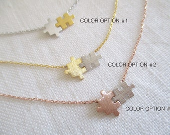 Puzzle necklace, Mix color puzzle, Rose gold, gold or silver puzzle necklace...dainty, delicate, simple and fun