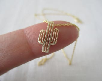 Gold, Silver or Rose gold Cactus necklace...dainty handmade necklace, everyday, simple, southwestern desert necklace