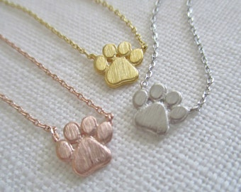 Tiny Gold, Rose gold, Silver Paw Print necklace  ..dainty and simple, paw necklace, animal lover gift, dog lover necklace