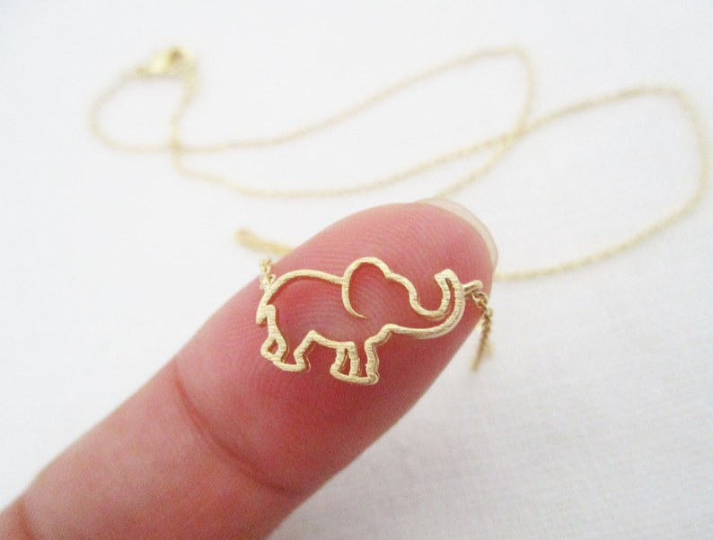 Gold Rose Gold or Silver  elephant  necklace...dainty image 0