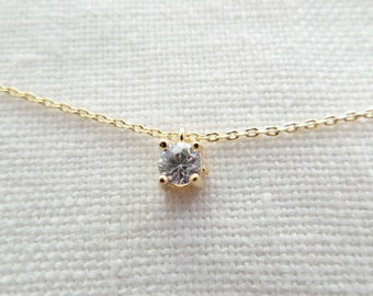 Teeny Tiny Delicate CZ Solitaire Necklace, Gold, Rose Gold or Silver CZ Necklace..Simple Layering Necklace, wedding, bridesmaid gift