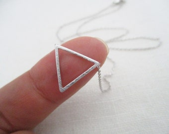 Tiny Gold, Rose gold or Silver chevron triangle necklace