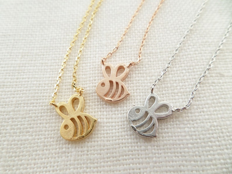 Teeny Tiny Honey Bee Necklace Bumble Bee necklace Gold image 0