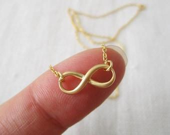 Teeny Tiny gold infinity necklace..simple, dainty, infinity eternity bridal jewelry, wedding, bridesmaid gift