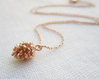 Tiny Gold or Rose Gold Pine Cone necklace