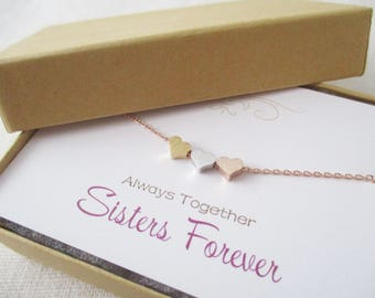 Tiny heart necklace, dainty 3 heart necklace, three sister gift, gift for best friend ,delicate necklace, bridesmaid gift
