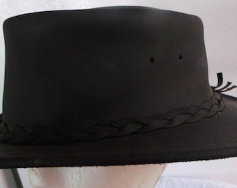 5462c591 VINTAGE NEW Store stock MINNETONKA Black Leather Fold Up Hat Size X-Lg  Perfect Condition, Sold As Is