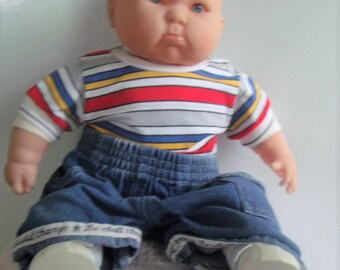 """VINTAGE,WeightedBerenguer Pouting Boy Doll, Hard Plastic Arms,Legs, Head, Blue Eyes,Cloth Body,Weighted,20"""",NEW Never Used,Perfect Condition"""