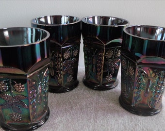 VINTAGE Set of Four FENTON GLASSES Butterfly And Berries 1911-1916, Purple Blue New, Never Used  Perfect Condition