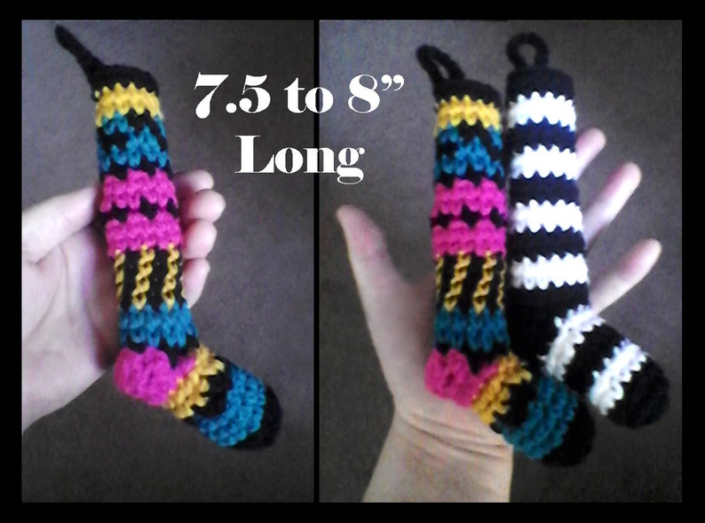 Set of 6 Extra Long Striped Carnival Colored Mini Christmas Stockings!